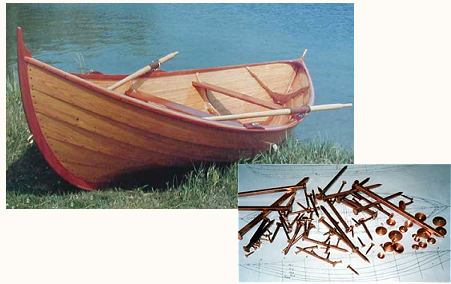 wooden canoe and copper nails